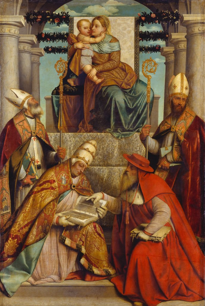 Virgin and Child Enthroned with the Four Fathers of the Latin Church, Moretto da Brescia