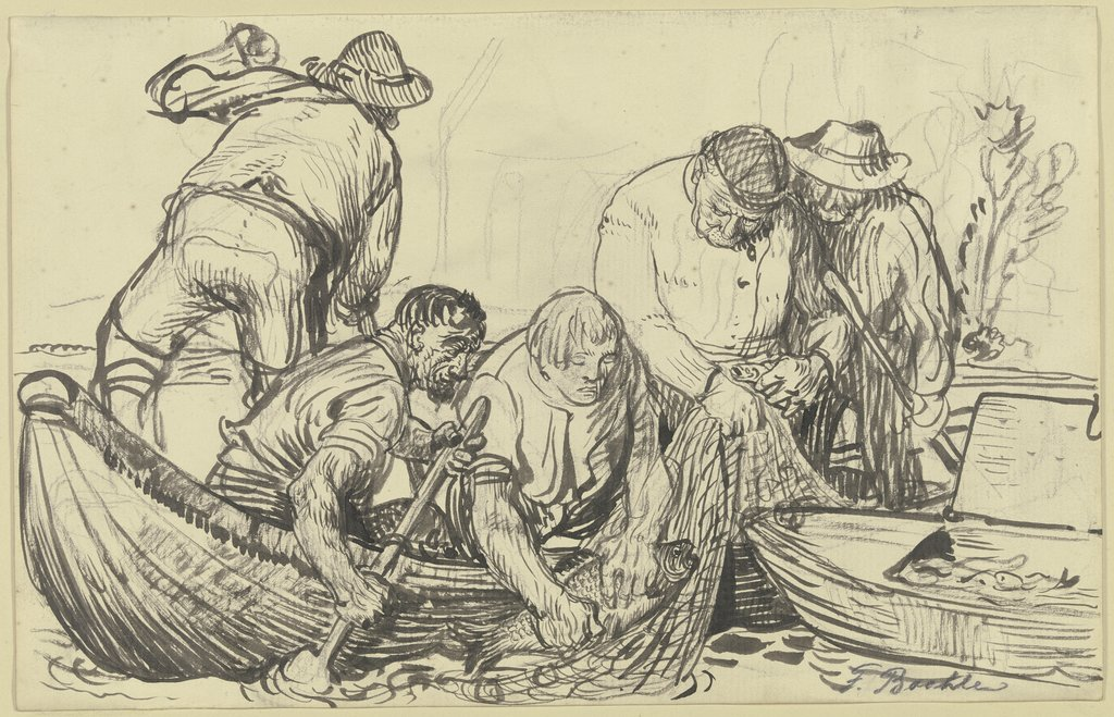 Fishermen working, Fritz Boehle