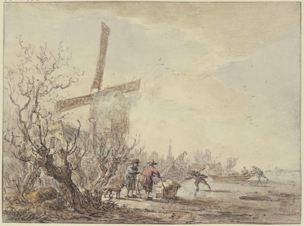 Riverbank with windmill, Jacob van Strij