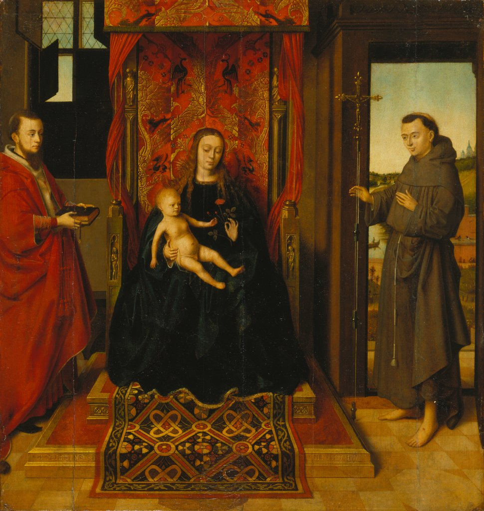 Virgin and Child with Saints Jerome and Francis, Petrus Christus