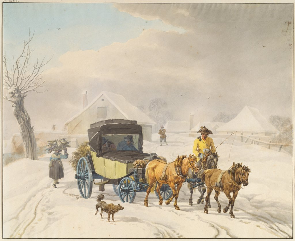 Stagecoach in Winter, Wilhelm von Kobell