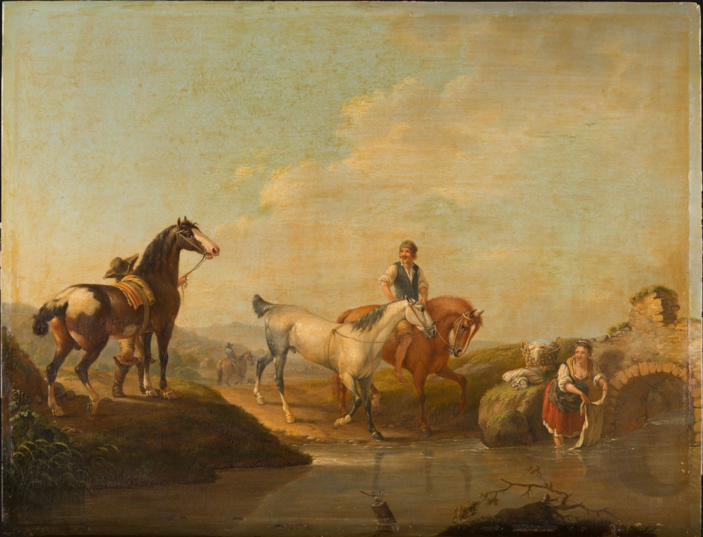 A Groom Leading two Horses to the Water, Johann Georg Pforr