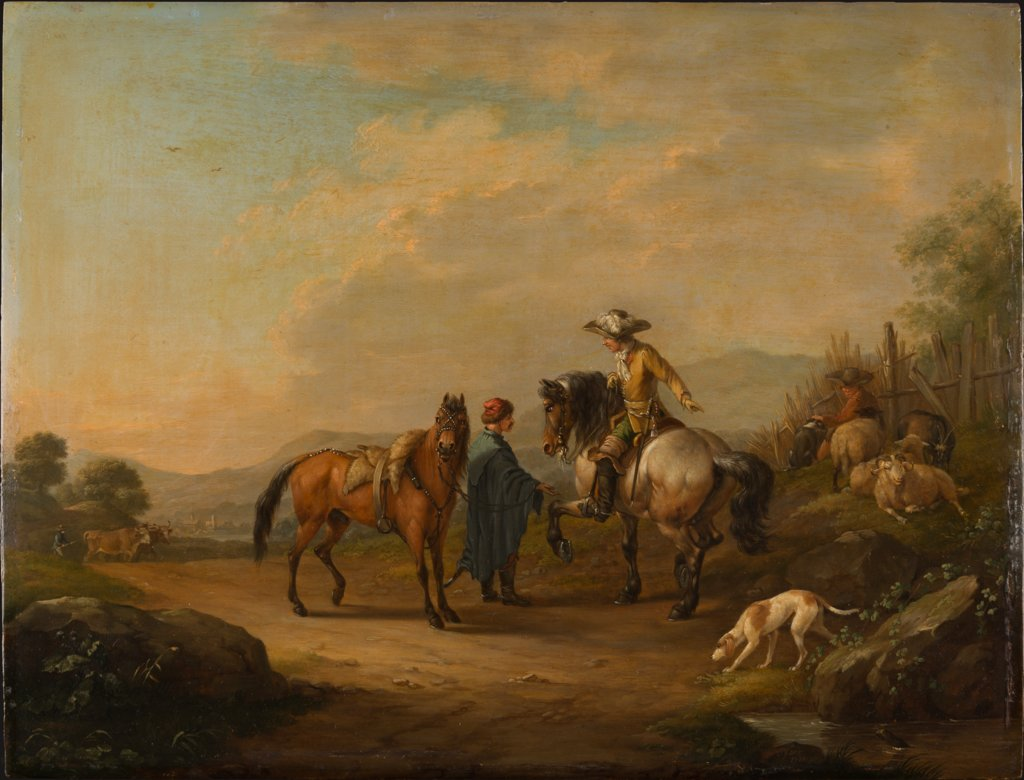 A Gentleman on Horseback with his Groom, Johann Georg Pforr