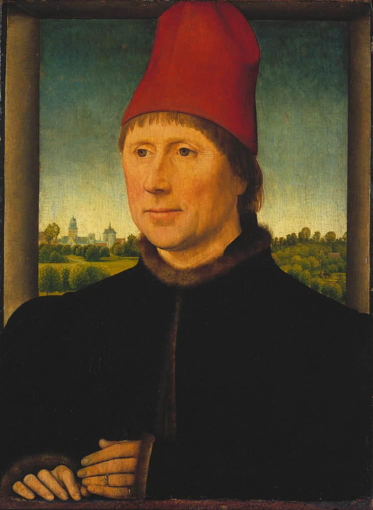 Portrait of a Man Wearing a High Red Cap, Hans Memling