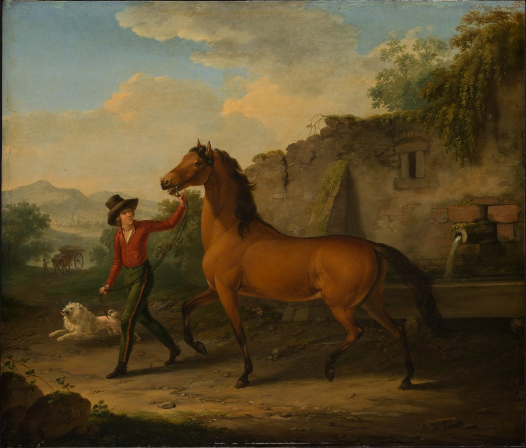 A Groom Leading a Stallion from the Drinking Trough, Johann Georg Pforr