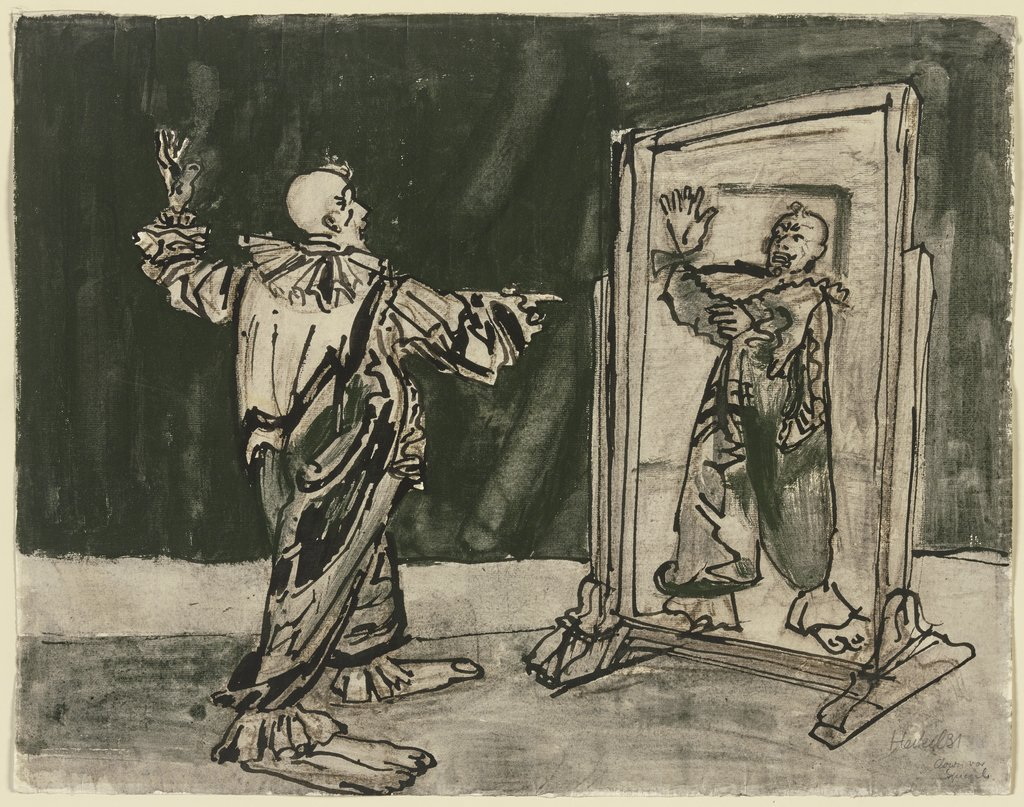 Clown in front of a mirror, Erich Heckel