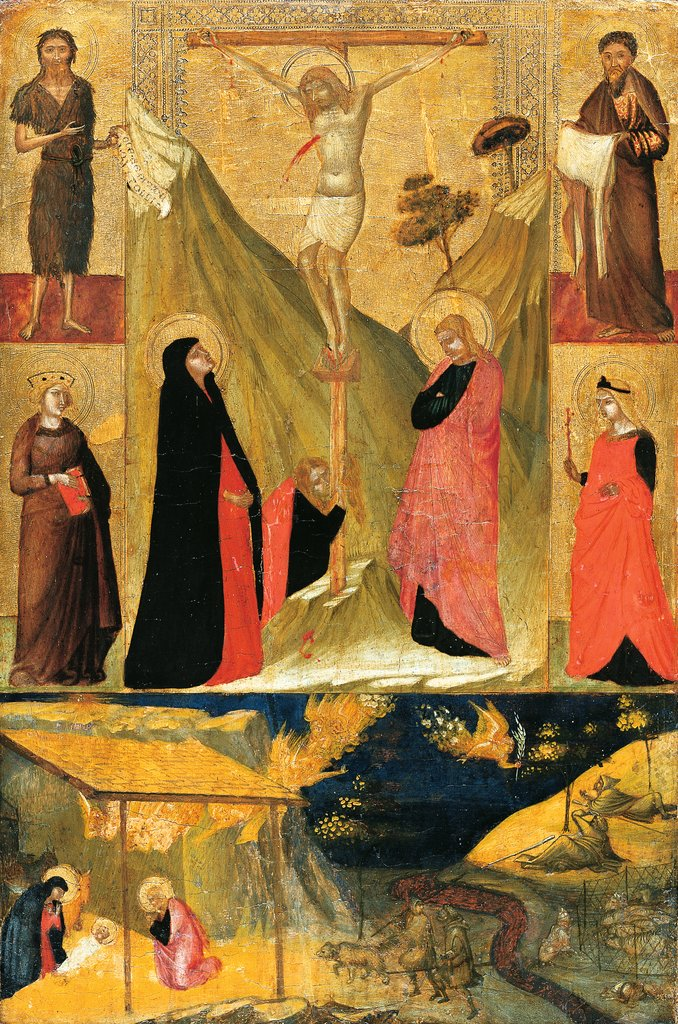 The Crucifixion, the Nativity and Saints, Ambrogio Lorenzetti