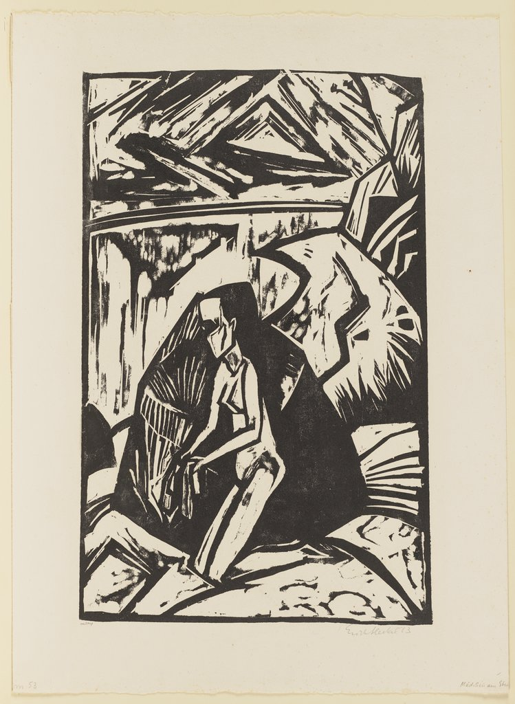 Woman Kneeling Near a Rock. From the Neumann portfolio, Erich Heckel