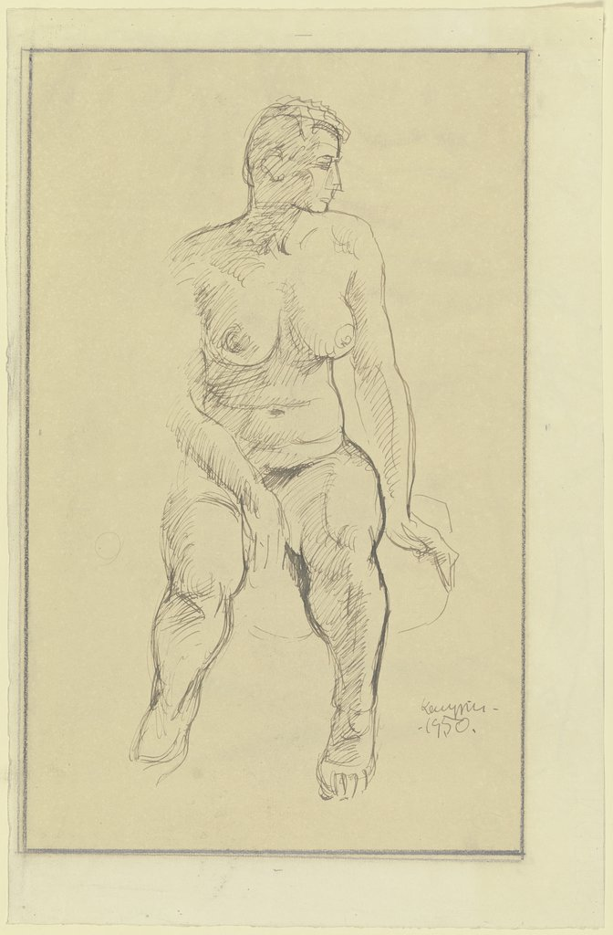 Female nude, sitting, Kurt Kempin